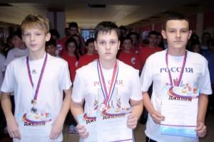 Победители на 400м cлева направо Захаров Д., Краснов Д., Кузнецов Д.